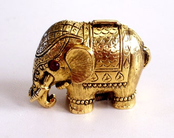 Elephant Compact, Vintage Tiny Tusker, Elephant Perfume, Solid Perfume, Max Factor, Gold Plated Rhinestone Compact, Animal Compact