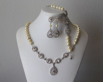 wedding jewelry, bridal jewelry set, pearl necklace, bracelet, earrings, swarovski pearls, cz brooch, wedding necklace