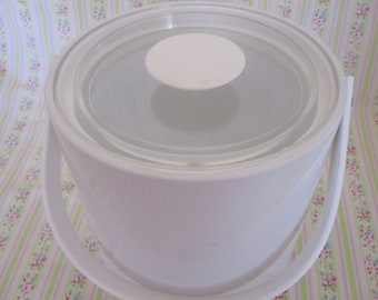 Georges Briard White Patent Leather Ice Bucket