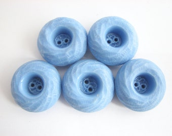 5 Large Blue Buttons, Thick coat buttons, Old 1960s Vintage chunky buttons, UNUSED!