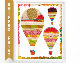 PRINT Hot Air Balloons Wall art, Kids Room Art, Nursery decor, Travel Art