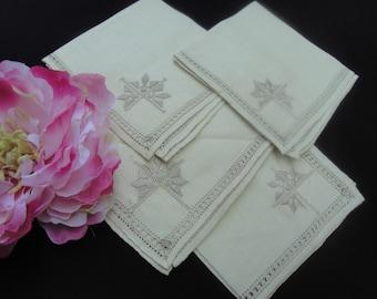 Four Vintage Unused Embroidered Ivory Napkins Cotton Linen Madeira Vintage Linens Kitchen Whitework Embroidery Bridal Wedding Shower 111