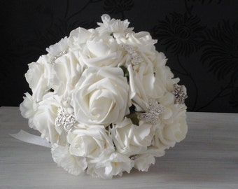 ivory wedding bouquet ivory roses wedding  bouquet rose bouquet brides bouquet bridesmaid bouquet wedding flowers brooch bouquet brides posy