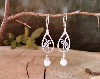 Silver Dangle Paisley Earrings with Pearls, Sterling silver earrings with freshwater pearl, Handmade, Earrings #191.B