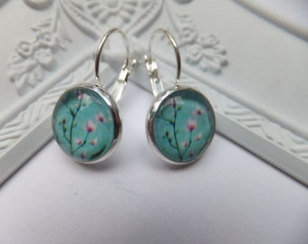 SALE Turquoise Blossom Earrings - silver plated nickel free