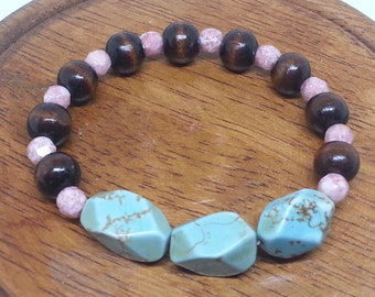 Geometric Blue/Green Stones Pink Faceted and Wood Beads Stretch Bracelet