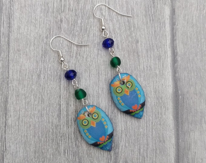 Blue Owl Statement Earrings, Animal Jewelry, Bird Earrings