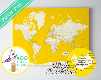 Push pin world map etsy personalized gift push pin world map canvas yellow ready to hang high detailed gumiabroncs Images
