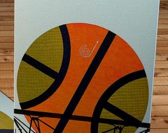 1967- 1968 Vintage Seattle SuperSonics Basketball Program - Canvas Gallery Wrap -  12 x 16