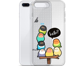 "Lovebirds ""Hello?"" Clear Phone Case"