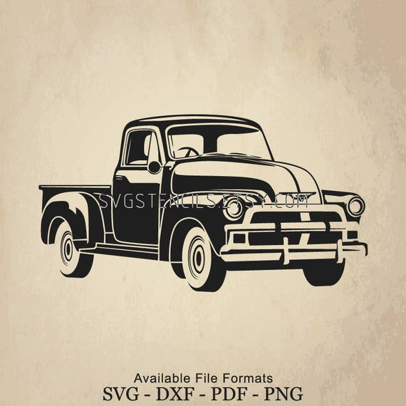 SVG Vintage Car Chevrolet Old Truck Stencil Silhouette
