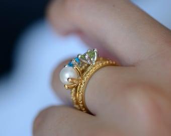 White Pearl Silver Ring - Plain Rarara, Stackable Ring, White Pearl Jewelry, 925 Silver Ring, White Pearl Ring Silver, Stack Rings