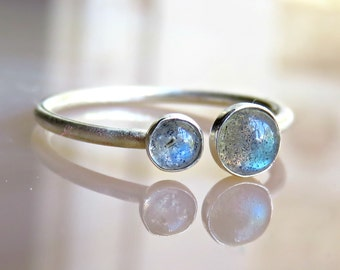 Labradorite Promise Ring Sterling Silver Color Change