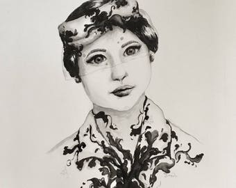 Ink Drawing Vintage Woman Girl Portrait Original Painting with Ink