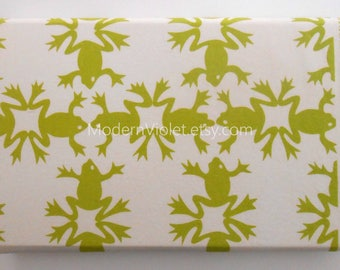 Leap Frog, Alexander Henry Fabric, Lime Green Frogs on White, OOP VHTF