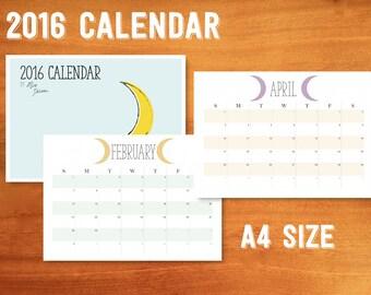 2016 Crescents Calendar - printable A4 size - 13 pages
