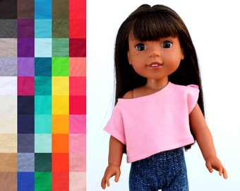 Fits like Wellie Wishers Doll Clothes - Trendy Off Shoulder Tee, You Choose Color   14.5 Inch Doll Clothes