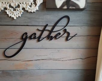 Gather Sign Large Cutout Wall Decor Word