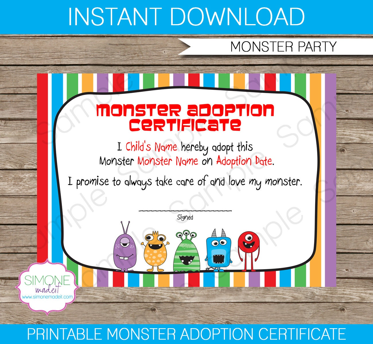 Monster adoption certificate instant download printable zoom xflitez Image collections