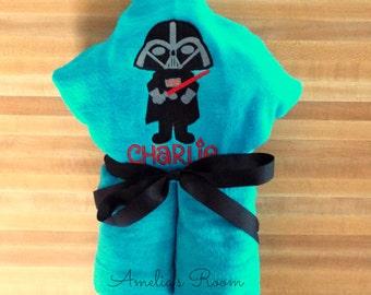 Dark Villian Hooded Towel - Children's Towel, Hooded Towel, Personalized, Applique, Kids Hooded Towel, Villian Towel