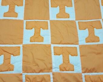 Go Vols!!! Power T baby quilt. Orange and white square,  baby blanket, volunteer quilt