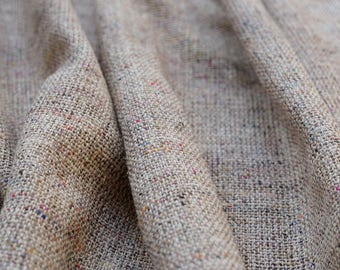 Linen look loose weave 100% Silk Fabric - Natural colour mix with multi coloured yarns - 112cm wide - Truly Unique Hand Woven Fabric (B2)
