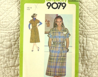 Shirtdress, L, Simplicity 9079 Pattern, Front Buttons, Notched Collar, Tie Belt, Turn Back Cuffs, 1979 Uncut, Size 16