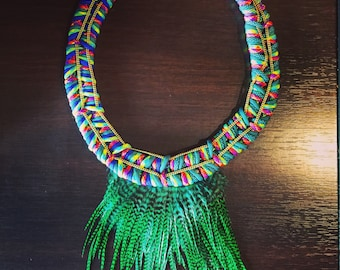Ethnic necklace with feathers / ethnic necklace Feathers