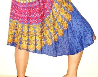 Dont Worry be Hippy... BLUE Indian Print Skirt