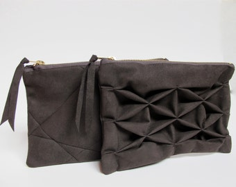 origami clutch, grafic pouch, ultrasuede in greybrown