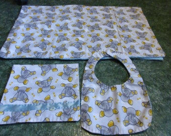 Baby gift combo-burp cloth, bib and blanket