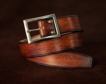 Leather belt brown denim style - Handmade for men in France