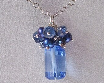 True Blue Quartz Step Cut Nugget Pendant with Gemstones and Sterling Silver