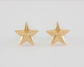 Star Earrings Gold, 18k, handcrafted