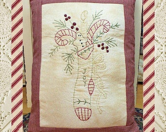 Joy Stocking-Primitive Stitchery PATTERN by Primitive Stitches-Instant Download