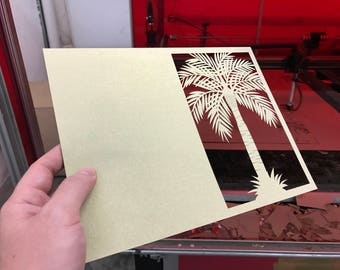 50 Laser Cut Palm Tree Jacket Folder