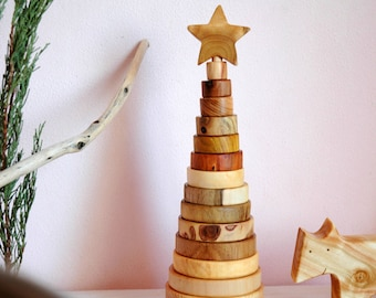 Eco Friendly Stacking Toy/ Wooden Toy/ Ring Stacker/ Montessori Game/ Organic Toy/ Educational Toy/ Waldorf toy