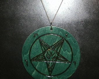 3 Inch Church of Satan Sigil of Baphomet Pendant (Pyrography) You Pick the Color, Free US Shipping (Chain Not Included)