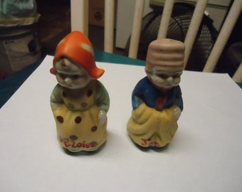 Vintage Joe and Eloise Salt and Pepper shakers, boy and girl collectable, made in Japan, have corks