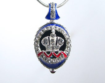 """AMAZING """"Great Imperial Crown""""! Guilloché enamel Faberge style egg-shaped pendant, 925 sterling silver, garnet, Swarovski crystals"""