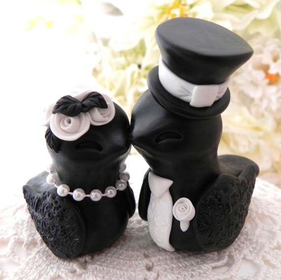 Elegant Love Birds Wedding Cake Topper, White and Black, Bride and Groom Keepsake, Fully Customizable