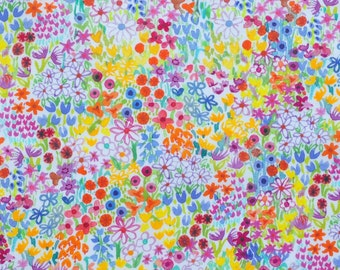Liberty fabric Tana Lawn Poppy's Meadow  - 5x10'' yellow,red,pink - 2017 Collection - The Little Land of Rhyme