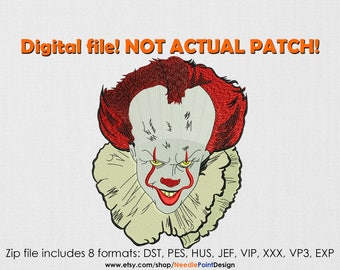INSTANT DOWNLOAD - Clown machine embroidery design. Horror. Halloween. Embroidery file