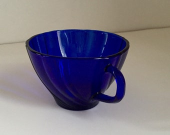 Vintage Cobalt Blue Glass Tea Cup