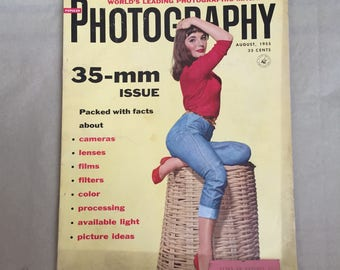 Photography Magazine, Vintage 1950's Magazine, 50's Photo, Popular Photography August 1955, 50's Photo, Vintage Ads, Joan Collins Pinup