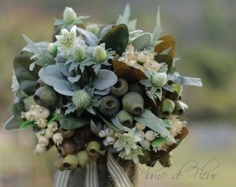 Gumnut, Berry bouquet, rustic wedding bouquet, bride bridesmaid flowers. Green, grey, cream bouquet. Thistle, gumnuts, eucalyptus, lambs ear