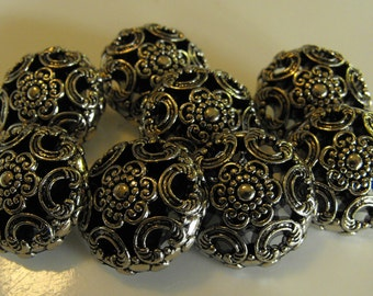 """8 Silver Flower and Rainbows Large Round Shank Buttons Size 15/16""""."""