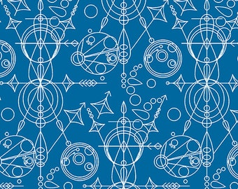 Andover Sun Print by Alison Glass - Mercury in Blue Gallifreyan inspired Quilters Cotton 1 Yard