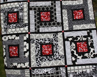 Lap, Baby, Quilt, Black, White, Red, Geometric, Flowers