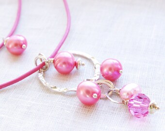 Pink Leather Necklace Bubblegum Freshwater Pearl Rose Swarovski Crystal Sterling Silver Circle Pendant Multistrand Bright Casual Modern